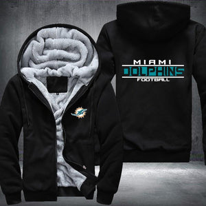 Miami Dolphins Zipper Hoodies Thicken Fleece Printing Pattern
