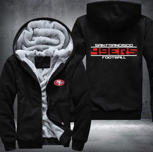 San Francisco 49ers Zipper Hoodies Thicken Fleece Printing Pattern