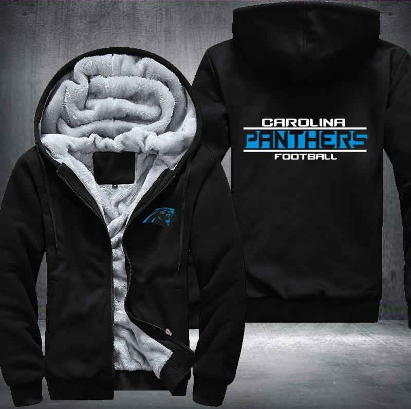 Carolina Panthers Zipper Hoodies Thicken Fleece Printing Pattern