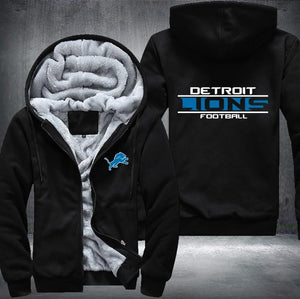 Detroit Lions Zipper Hoodies Thicken Fleece Printing Pattern