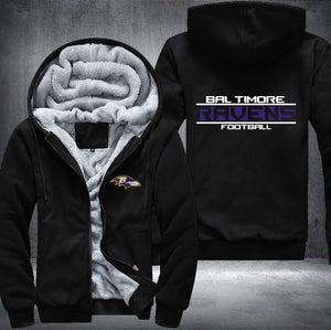 Baltimore Ravens Zipper Hoodies Thicken Fleece Printing Pattern