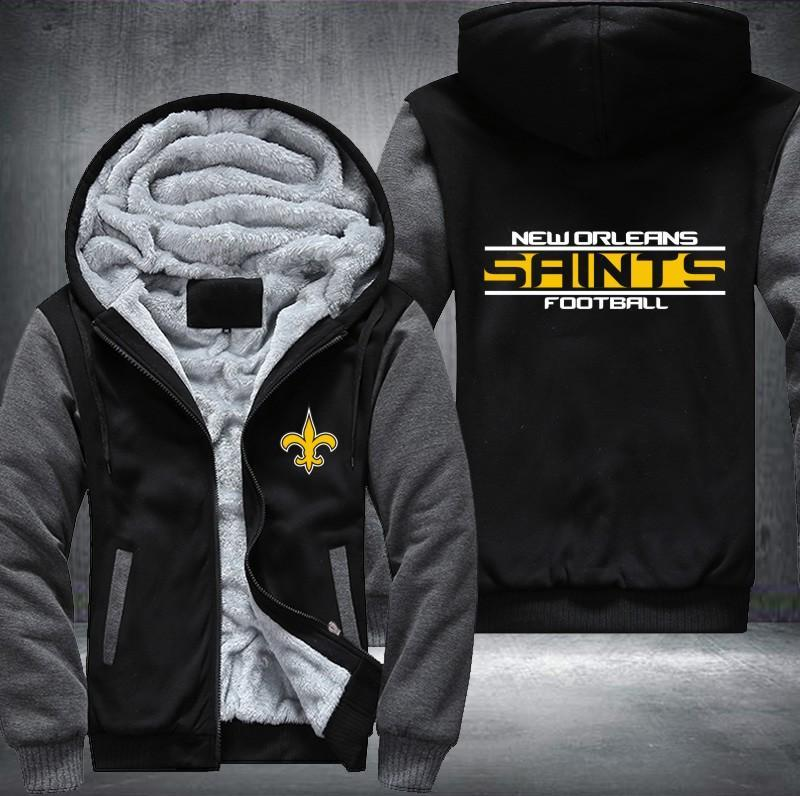 New Orleans Saints Zipper Hoodies Thicken Fleece Printing Pattern