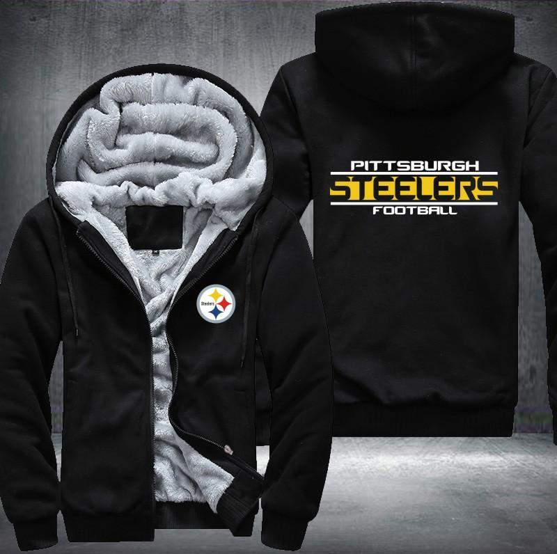 on sale 6cfe7 c5725 Pittsburgh Steelers Zipper Hoodies Thicken Fleece Printing Pattern