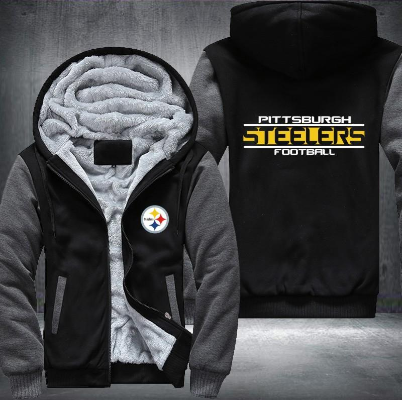 on sale cd2f6 76e5d Pittsburgh Steelers Zipper Hoodies Thicken Fleece Printing Pattern
