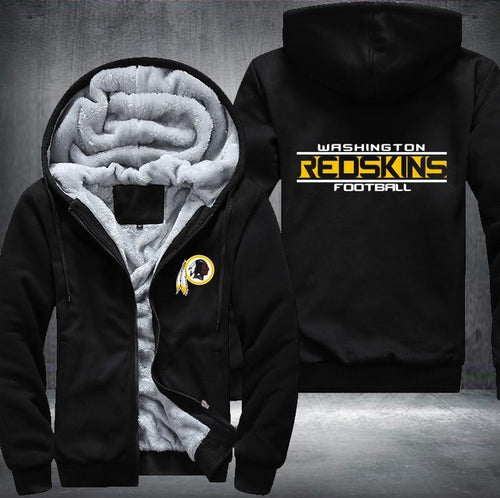 Washington Redskins Zipper Hoodies Thicken Fleece Printing Pattern