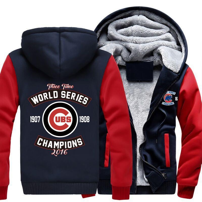 Chicago Cubs Zipper Hoodies Thicken Fleece Printing Pattern