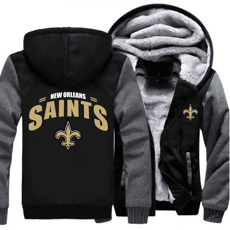 lower price with 0b7a1 26612 New Orleans Saints Zipper Hoodies Thicken Fleece Printing Pattern