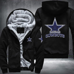 Dallas Cowboys Zipper Hoodies Thicken Fleece Printing Pattern