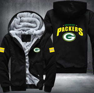 Green Bay Packers Zipper Hoodies Thicken Fleece Printing Pattern
