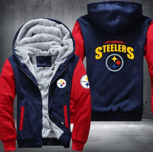 Pittsburgh Steelers Zipper Hoodies Thicken Fleece Printing Pattern