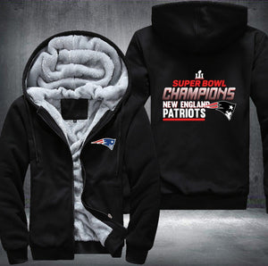 New England Patriots Zipper Hoodies Thicken Fleece Printing Pattern