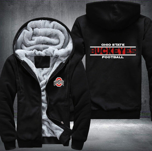 Ohio State Buckeyes Zipper Hoodies Thicken Fleece Printing Pattern
