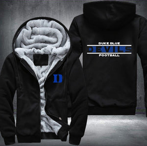 Duke Blue Devils Zipper Hoodies Thicken Fleece Printing Pattern