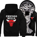 Chicago Bulls Zipper Hoodies Thicken Fleece Printing Pattern
