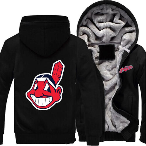Cleveland Indians Zipper Hoodies Thicken Fleece Printing Pattern
