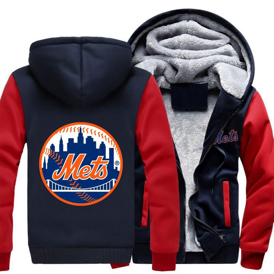 New York Mets Zipper Hoodies Thicken Fleece Printing Pattern