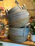 Grey Top Straw Basket
