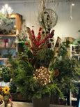 Christmas Outdoor Urn with Grapevine ball
