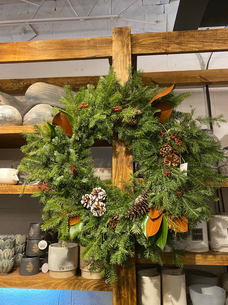 Balsam fir and Magnolia wreath