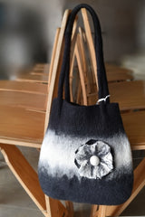 Black and white wool felted carry bag | Sally Ridgway | buy wool and felt bags online