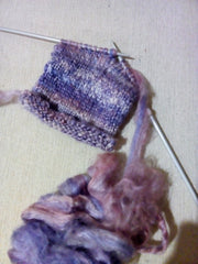 Knitting with mulberry silk hankies by sally ridgway