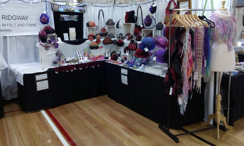 Wool felt hat and scarf display be sally ridgway at Tasmanian Craft Fair 2019