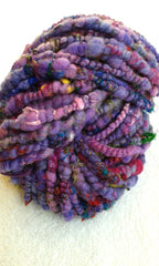 purple art yarn hand spun for sale online sally ridgway with sari silk and throwsters waste