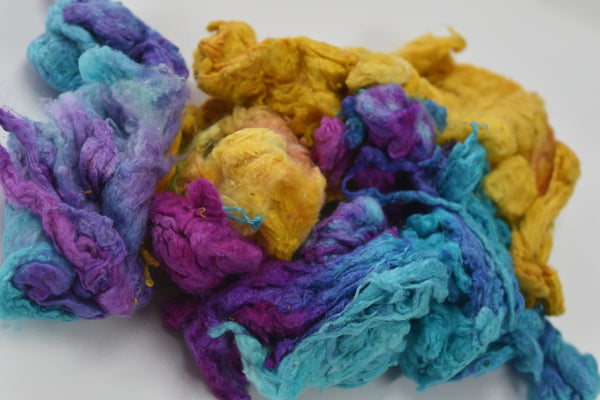 Recycled mulberry silk noil fibre hand dyed opal blue yellow crimson spinning felting fibre arts