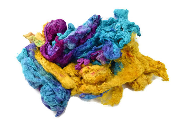 Mulberry Silk Noil Fibre Hand Dyed, Recycled Yellow Blue Purple Mix 20 g 11704| Silk Noil | Sally Ridgway | Shop Wool, Felt and Fibre Online