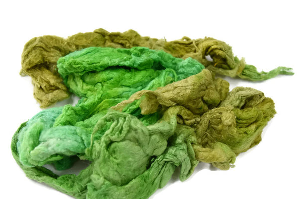 Mulberry Silk Noil Fibre Hand Dyed, Green Mix  11705