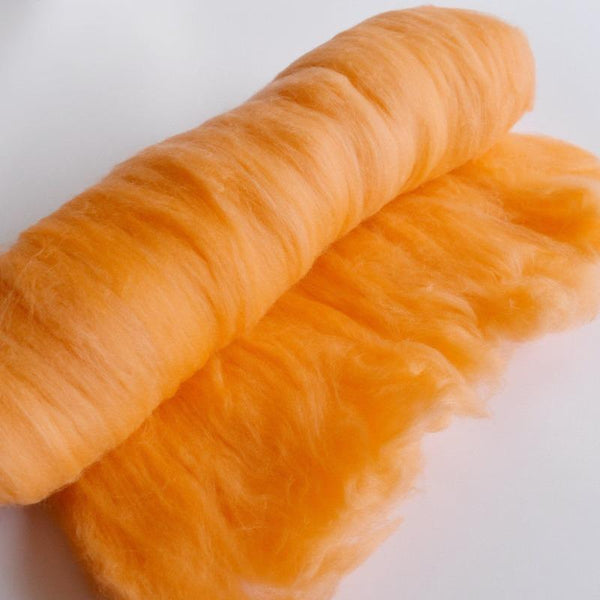 Merino Wool Batts Hand Dyed Australian Merino Wool Carded Batts 18.5u 100 g Citrus Orange 11753| Merino Wool Batts | Sally Ridgway | Shop Wool, Felt and Fibre Online