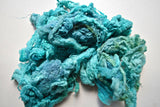 hand dyed mulberry silk fiber for spinning felting fibre arts carding Turquoise