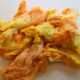 Mulberry Silk Noil Fibre Hand Dyed, Yellow Mix 11789| Silk Noil | Sally Ridgway | Shop Wool, Felt and Fibre Online