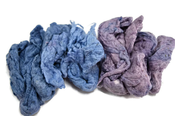 Mulberry Silk Noil Fibre Hand Dyed, Blue Purple Mix  11914