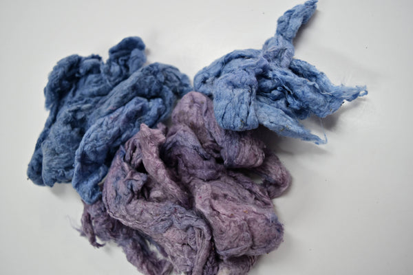 hand dyed mulberry silk fiber for spinning felting fibre arts carding Purple Blue
