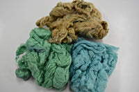Mulberry Silk Noil Fibre Hand Dyed, Green Beige Blue Mix 11915