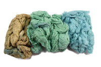 Mulberry Silk Noil Fibre Hand Dyed, Green Beige Blue Mix 11915| Silk Noil | Sally Ridgway | Shop Wool, Felt and Fibre Online