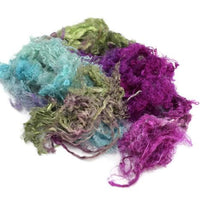 Mulberry Silk Throwsters Waste 20g Multi Mix 12068| Silk Throwster | Sally Ridgway | Shop Wool, Felt and Fibre Online