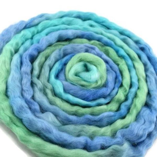 Wool Roving English Leicester Hand Dyed Blue Green Mix 12127