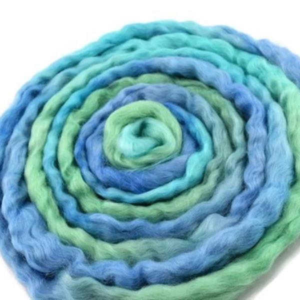 English Leicester wool tops roving hand dyed blue green mix 12127