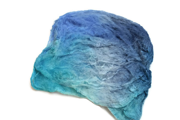 Silk Hankies for spinning & nuno felting hand dyed 10g Opal Blue Mix from www.sallyridgway.com