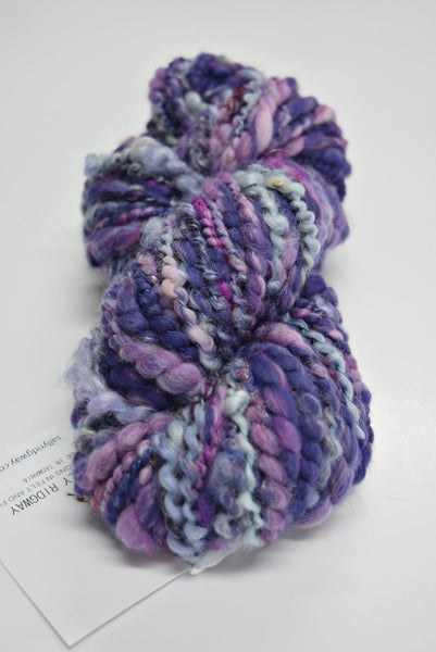 art yarn hand spun weaving yarn bulky chunky yarn Purple Blue Pink