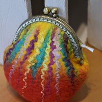 Wool felted coin purse kiss lock purse change pouch.