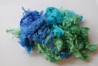 Mulberry Silk Throwster Fibre Recycled Fibre Hand Dyed Opal Blue Green Mix 20 grams 12344