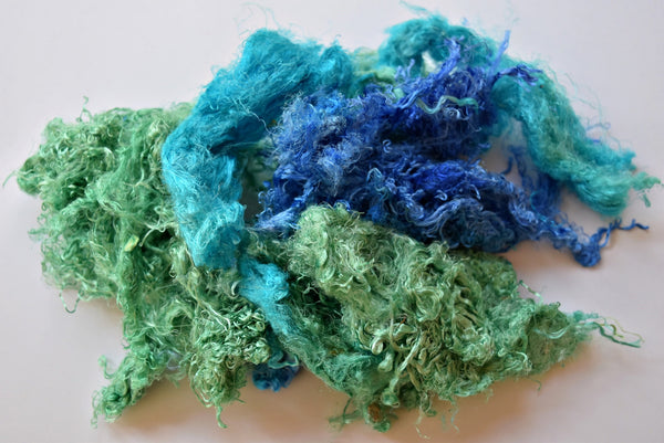 Mulberry silk throwsters waste recycled silk fibres hand dyed spinning felting fibre needle felting nuno, art batts green blue opal