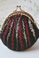 Black Felted Wool Purse Kiss Lock Coin Purse Black Red White 12362| Coin Purse | Sally Ridgway | Shop Wool, Felt and Fibre Online