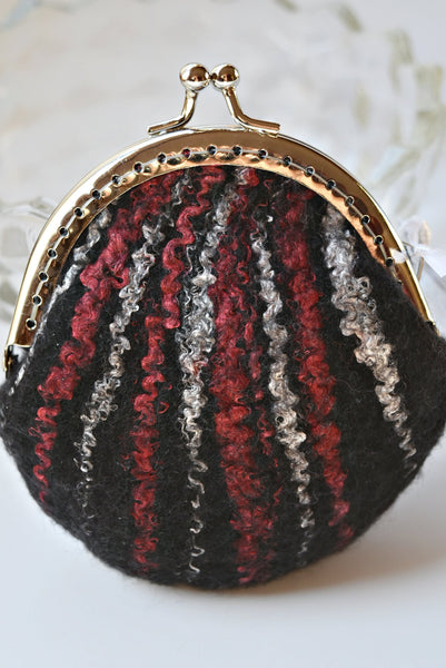 Black Wool Felted Purse Kiss Lock Coin Purse jewellery purse change bag purch
