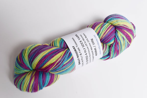 Sock Yarn 4 Ply Hand Dyed Merino / Nylon Rainbow 12382