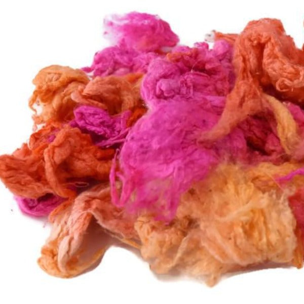 Silk Noil Hand Dyed, Recycled Silk Fibre for Spinning Felting Carding Pink Orange Mix 12385