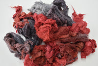 Silk Noil Hand Dyed, Recycled Silk Fibre Spinning Felting Carding Red Charcoal Mix 20 g 12386| Silk Noil | Sally Ridgway | Shop Wool, Felt and Fibre Online